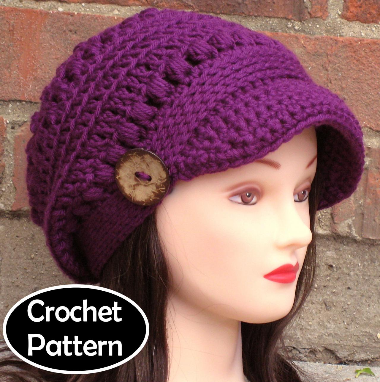 Crochet Hat Free Pattern Woman : CROCHET HAT PATTERN - Brooklyn Newsboy Hat Slouchy Beanie ...